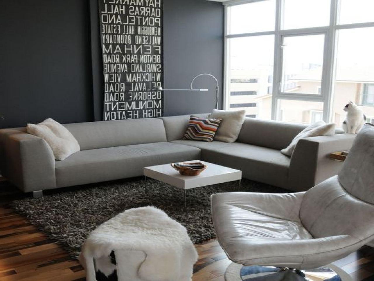Living Room, Light Gray Room Sloped Window Mid Century ...