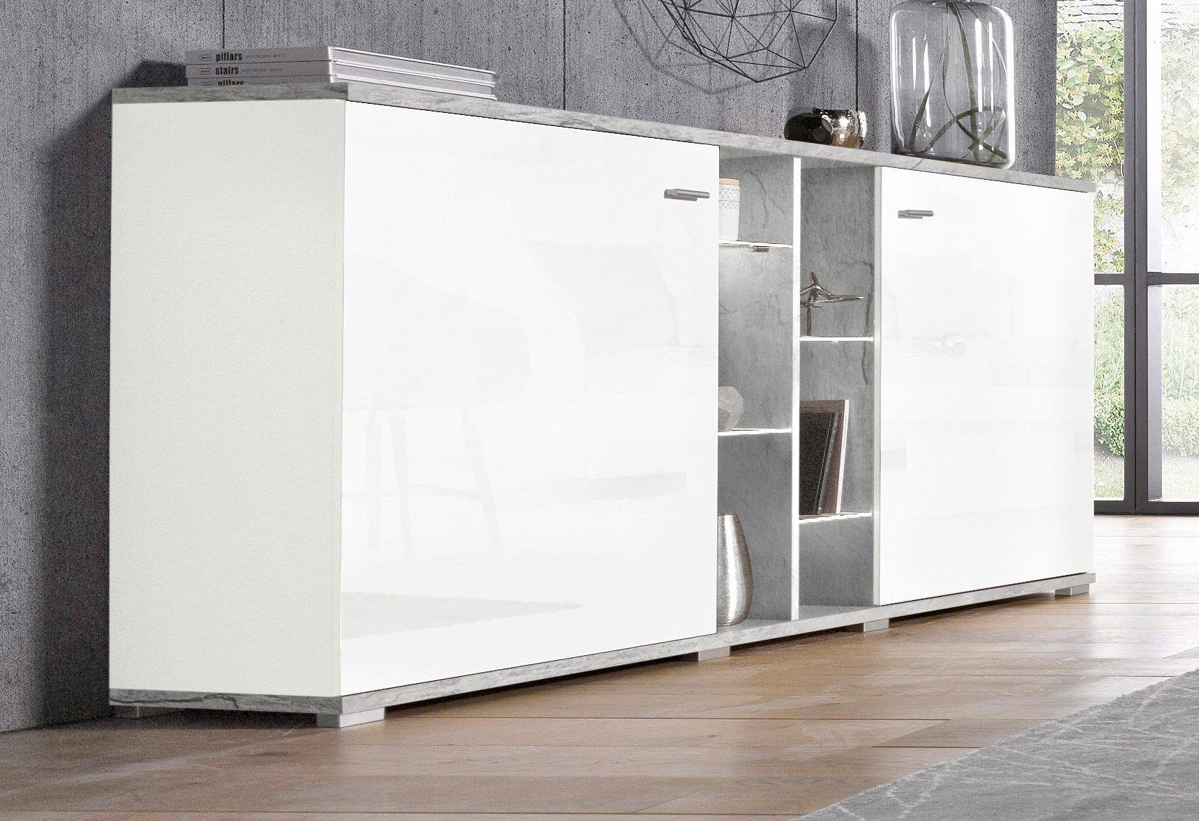 Sideboard Weiß, Pflegeleichte Oberfläche, Hochglanz Fronten,  FSC® Zertifiziert, Yourhome