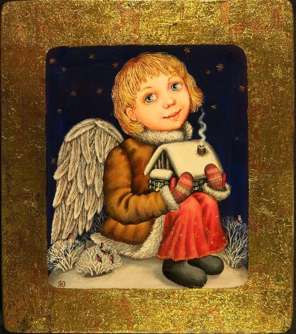 Gallery.ru / Ангел, оберегающий дом - Дерево,темпера,лак - julia-yakusheva