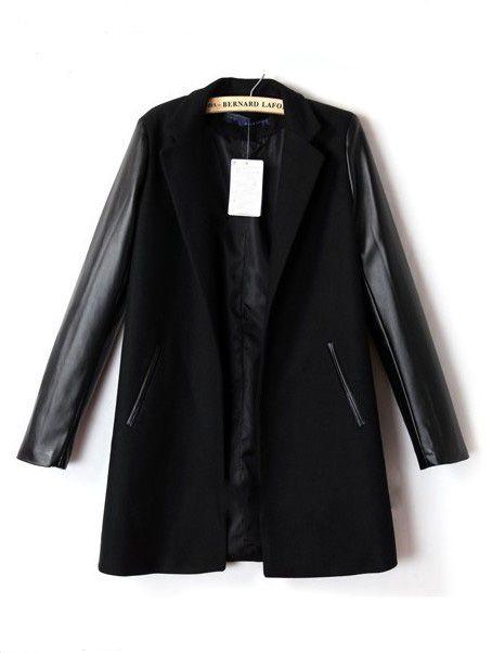 Mantel mit PU-Lederärmeln und Revers, schwarz 41.93 Lederärmel,  Ledermäntel, Schwarzes Leder abae5667c8