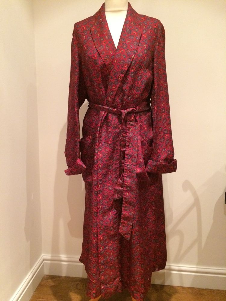 Dapper Vintage Red Paisley Art Deco Dressing Gown / Smoking Jacket ...
