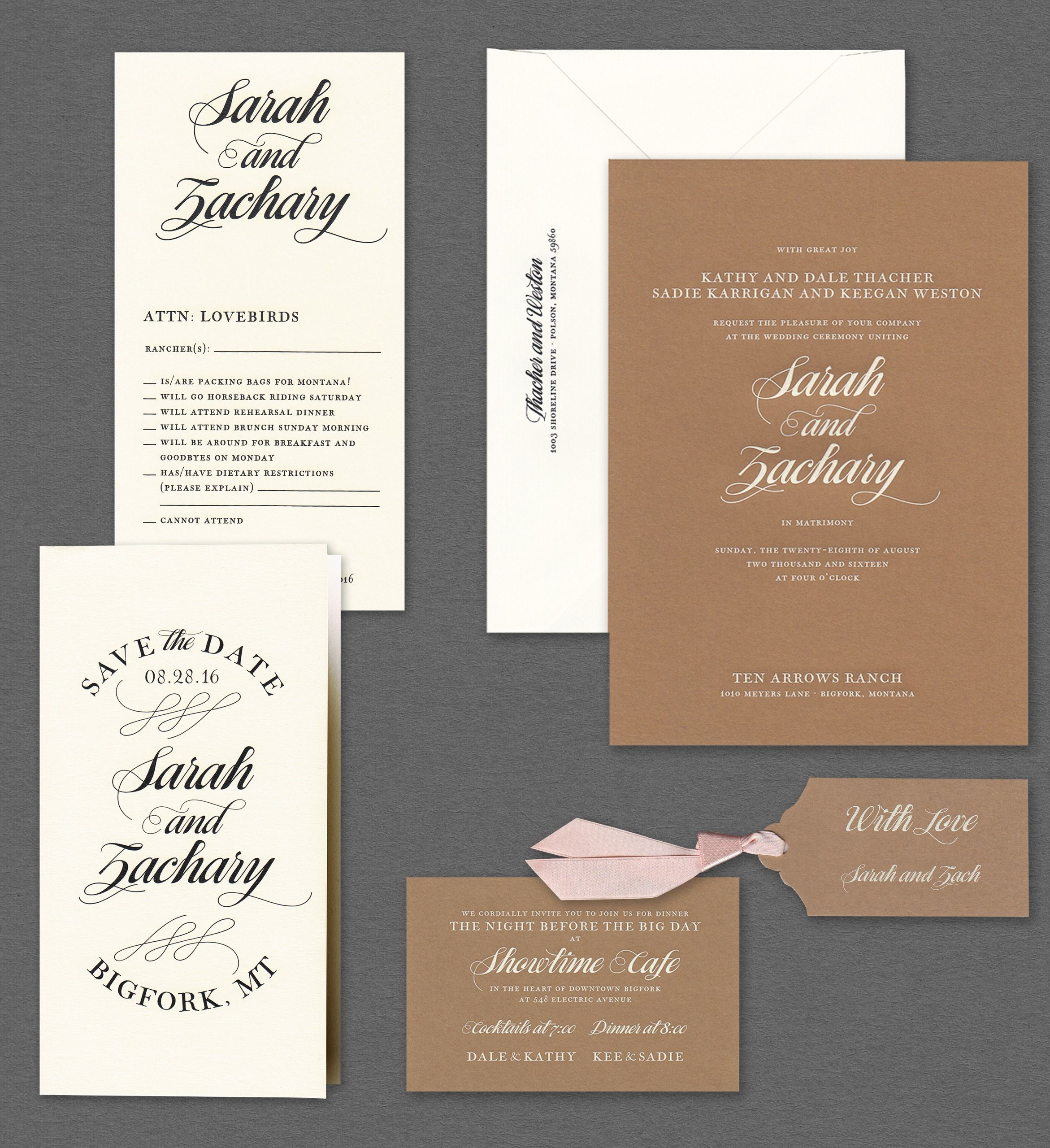 Vera wang kraft wedding invitation suiteavailable at honey paper greeting card and stationery store near you click now to find the nearest crane stationery store in your area kristyandbryce Image collections