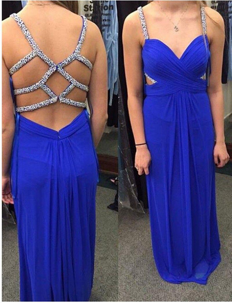 Chiffon prom dresssexy evening dressformal evening gownslong blue