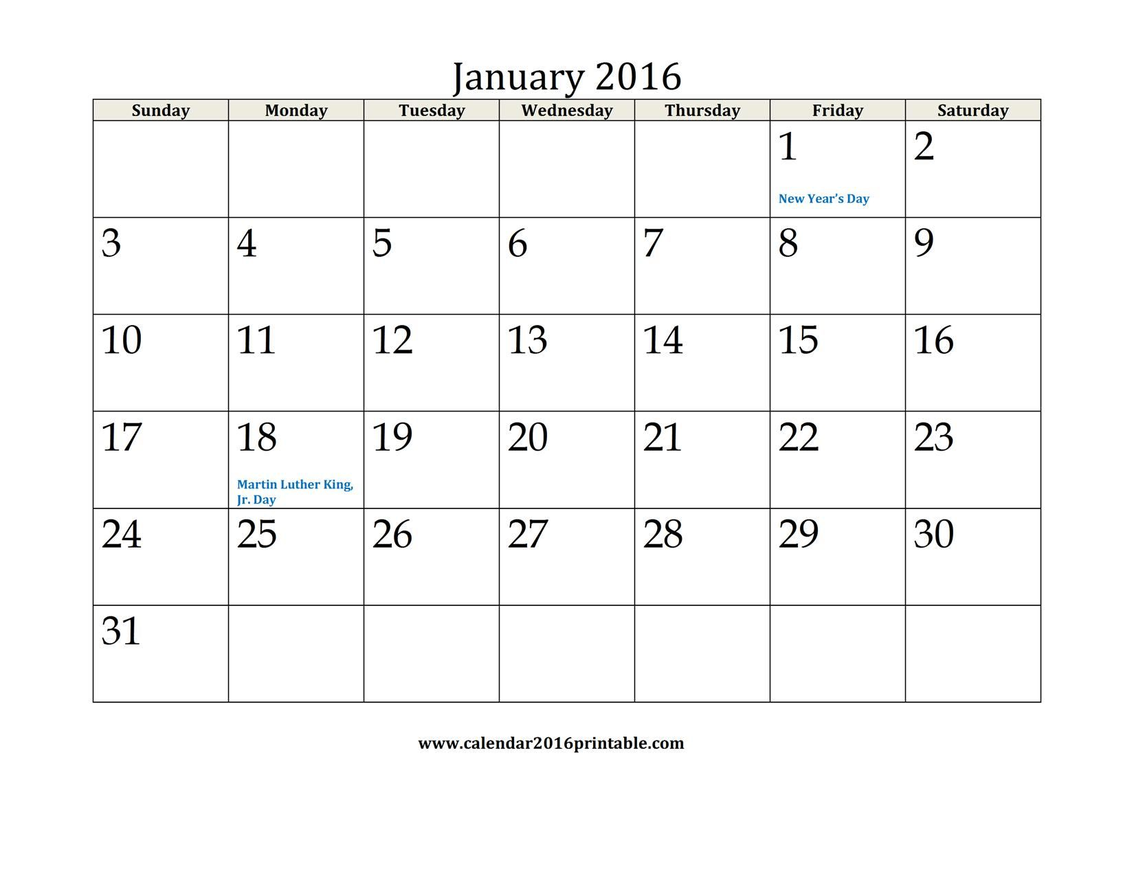 January  Calendar Printable Free To Download And Print