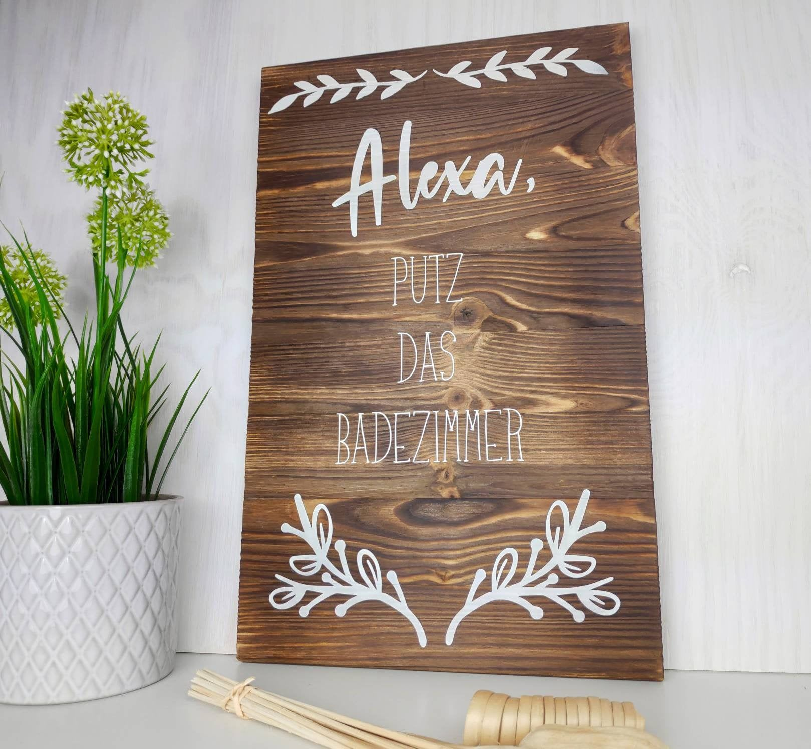 Badezimmer Wanddekoration Alexa Putz Das Badezimmer Farmhaus Holzschild In 2020 Decor Novelty Sign Alexa