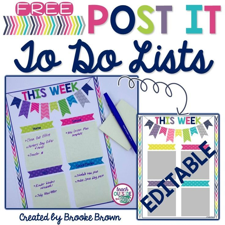 FINALLY! A home for all those Post it notes! Editable To Do Lists - editable to do list template