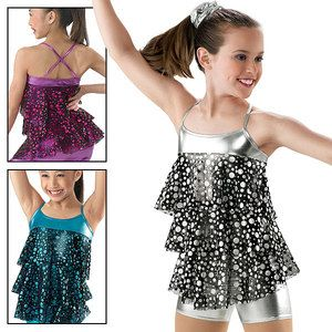 NEW DANCE COSTUMES SILVER GLITTER BLACK TAP JAZZ Child Very showy from Stage