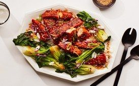 Spicy Salmon Teriyaki with Steamed Bok Choy #salmonteriyaki Tossing salmon pieces in cornstarch before cooking helps them develop a crust that this spicy-sweet teriyaki sauce can really cling to. #salmonteriyaki