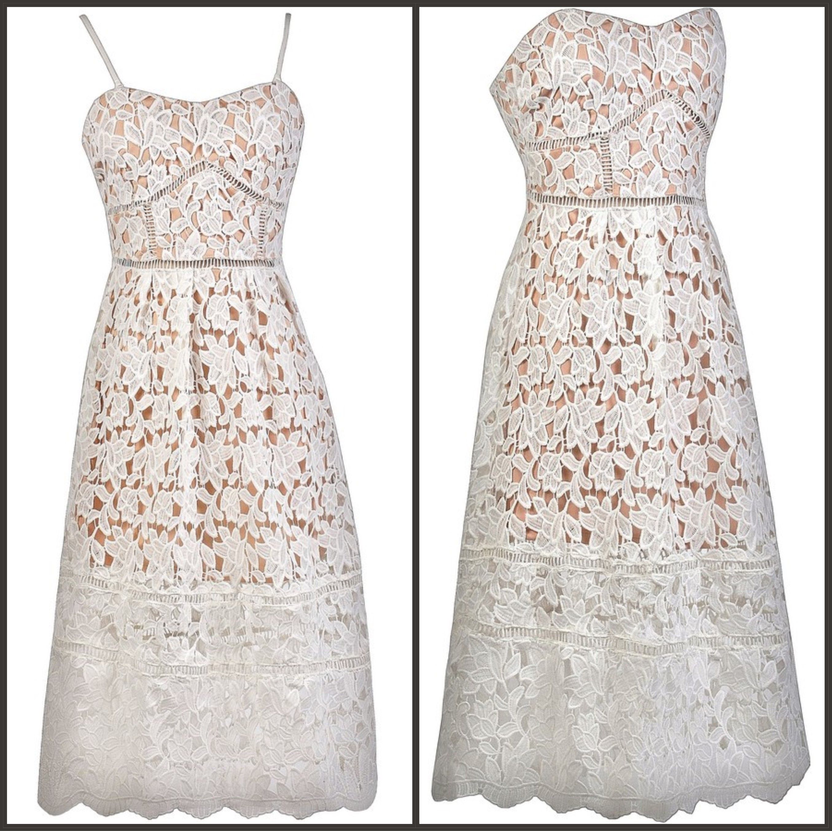 Lace dress maxi  This off white lace dress has a longer length midi cut ss