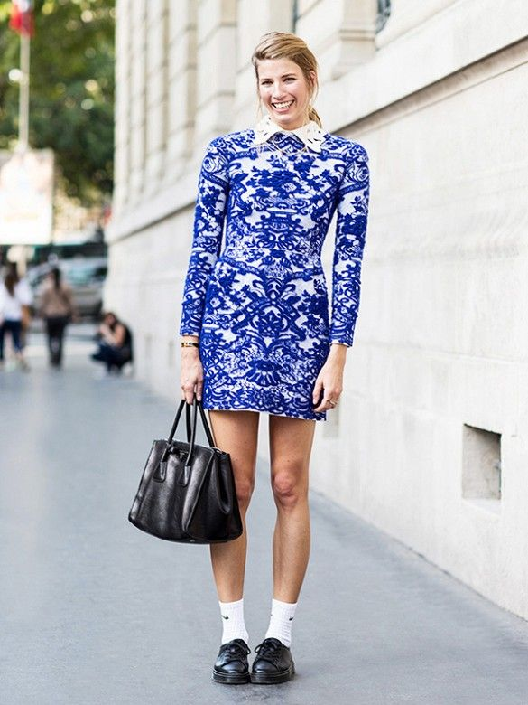 Veronika Heilbrunner stands out in a bold, blue dress. // #StreetStyle