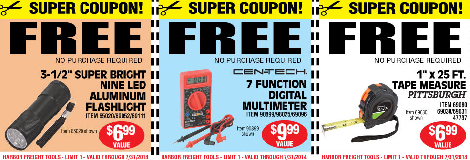 HARBOR FREIGHT Coupons for FREE Flashlight, Multimeter