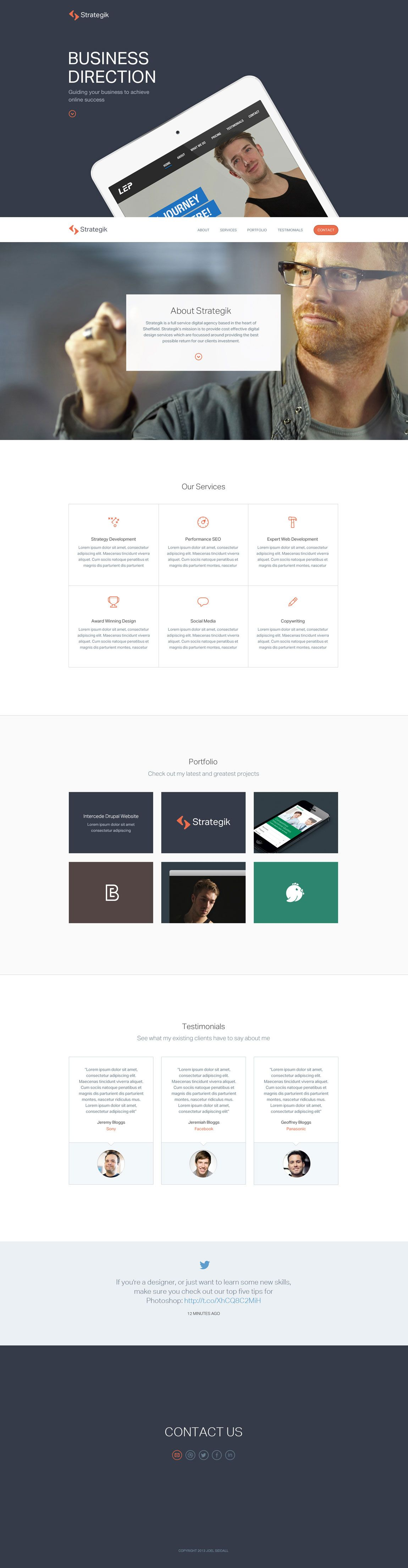 Clean Flat And Responsive One Page Portfolio For Digital Agency Strategik From Sheffield With A Dribbble Feed Fo Flat Web Design Interactive Design Web Design