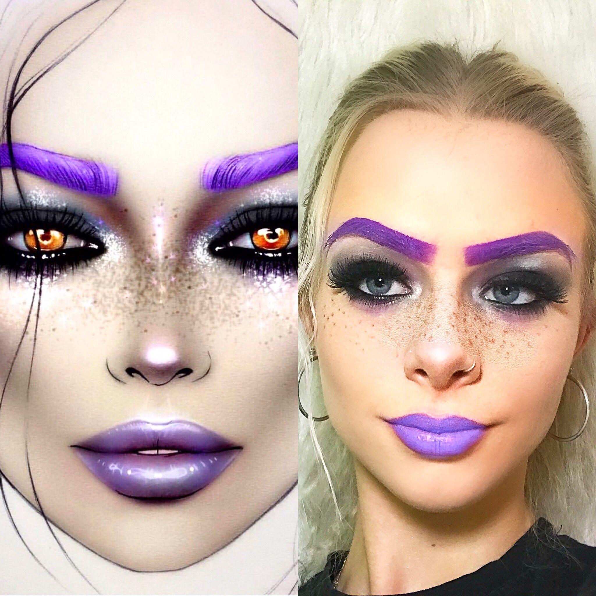 Face chart makeup facechart purplemakeup fauxfreckles