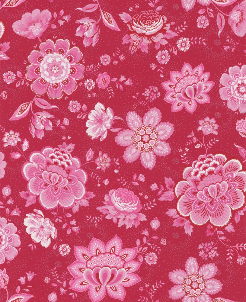 Folklore Chintz Ruby Red Wallpaper By Pip