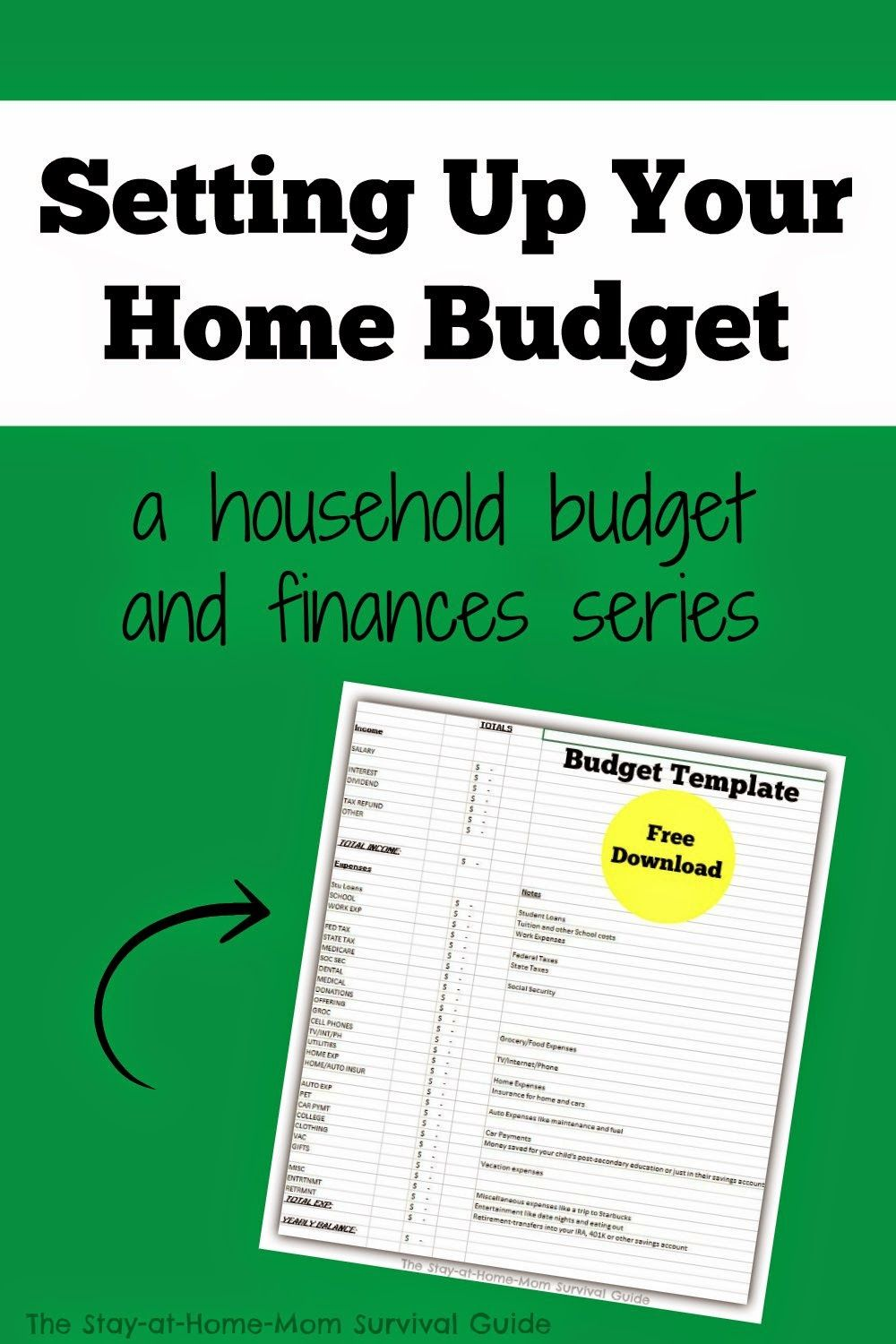 Setting Up Your Home Budget Free Download  Budget Template