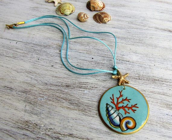 Necklace with porcelain turquoise pendant and by LaTavolozzaShop