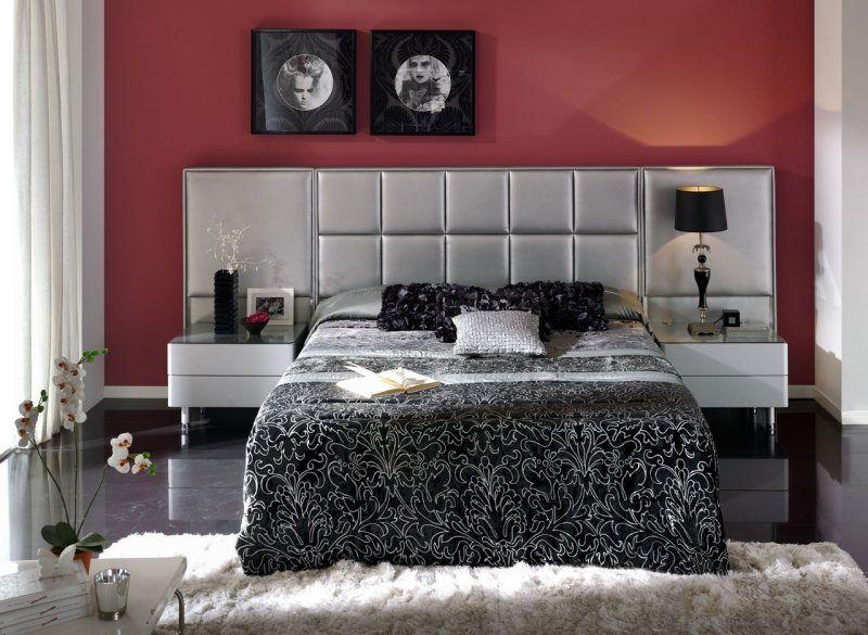 Superb Schlafzimmer Rote Wand #10: Rote Wand Und Grauer Bett-Kopfteil Im Schlafzimmer