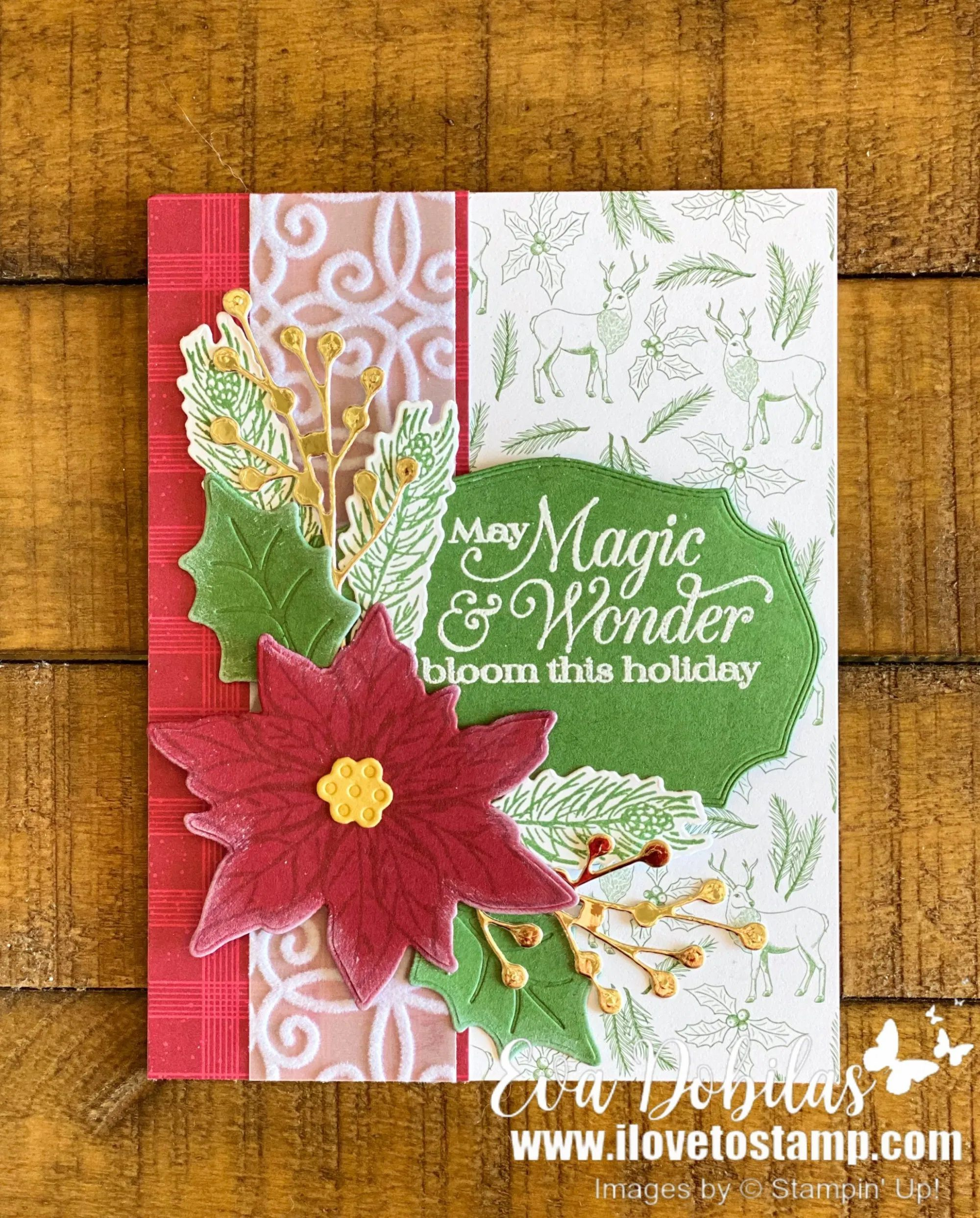 2020-2022 Star Log Cobin Christmas Tree Ideas Images Poinsettia Petals Card   I Love to Stamp in 2020   Stamped