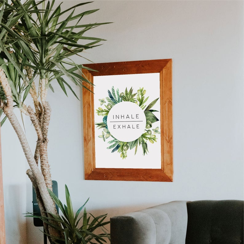 Inhale Exhale, Wall Print, Inhale Exhale Poster, Inhale Exhale Print, Inhale Exhale Printable, Inhale Exhale Download, Inhale Exhale Decor #inhaleexhale