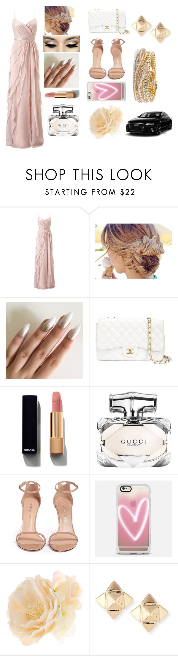 """""""Untitled #180"""" by charlotte0305 ❤ liked on Polyvore featuring Adrianna Papell, Chanel, Gucci, Stuart Weitzman, Casetify, Accessorize, Valentino and Torrid"""