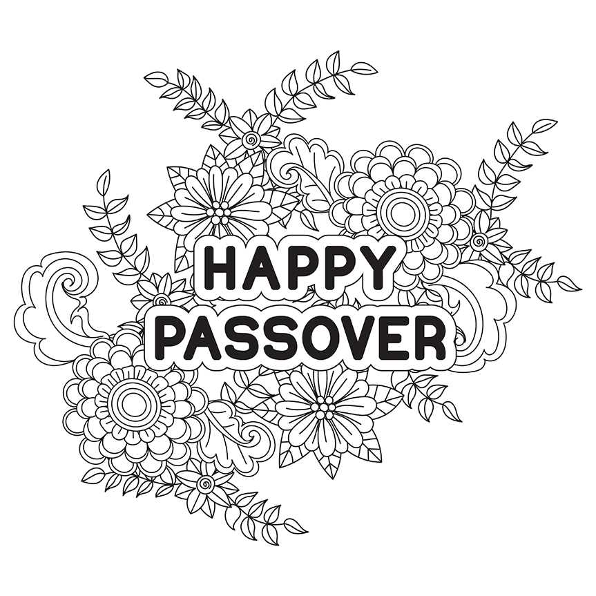 Happy passover coloring page