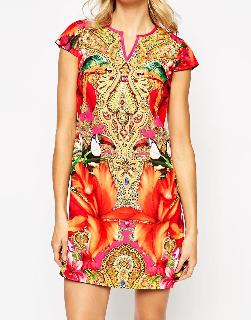 7abcd2e2a91a2c Ted Baker Tunic Dress in Paisley Toucan Print