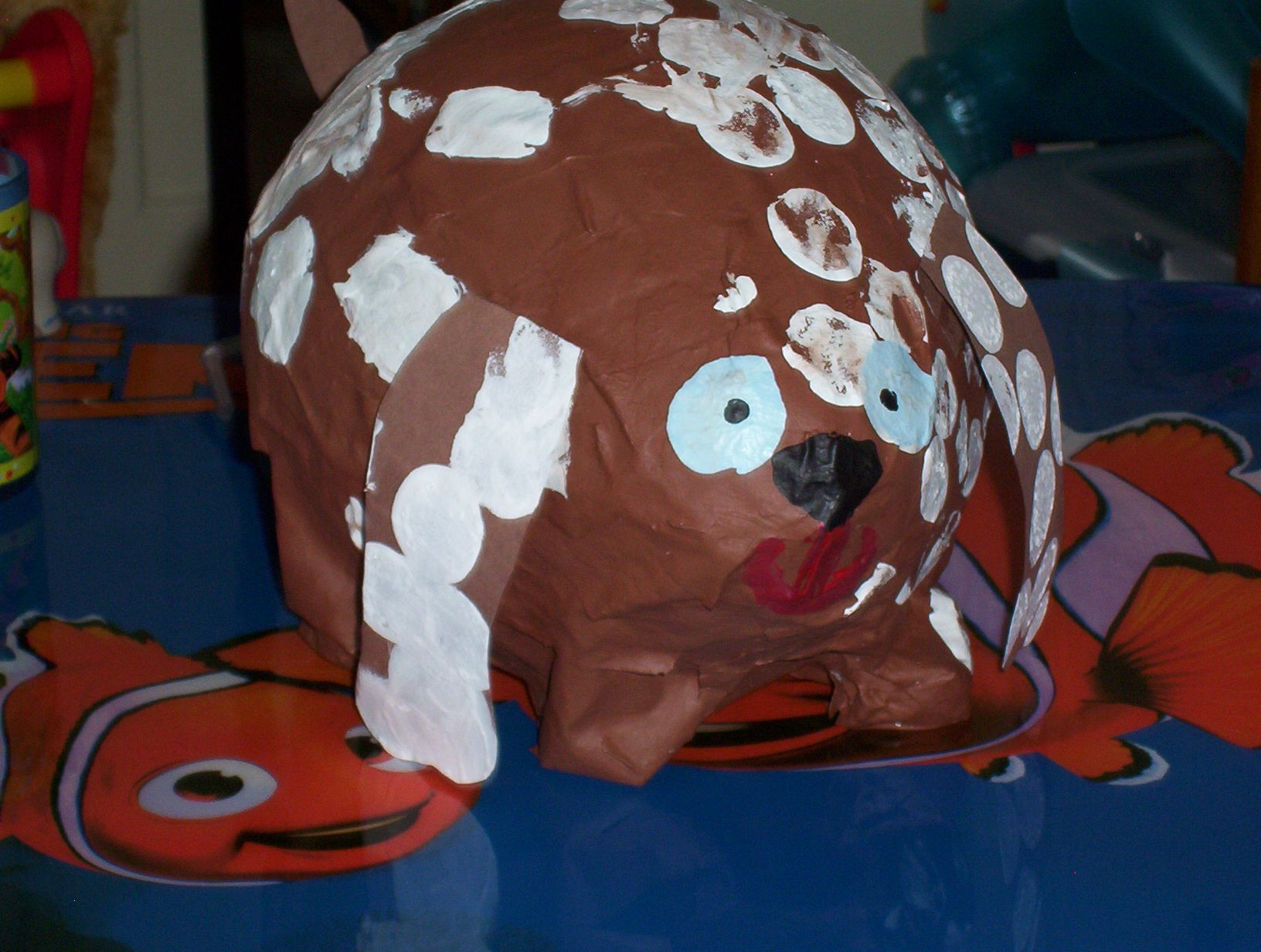 Paper Mache Dog Animals Stips Of News Paper Dipped In