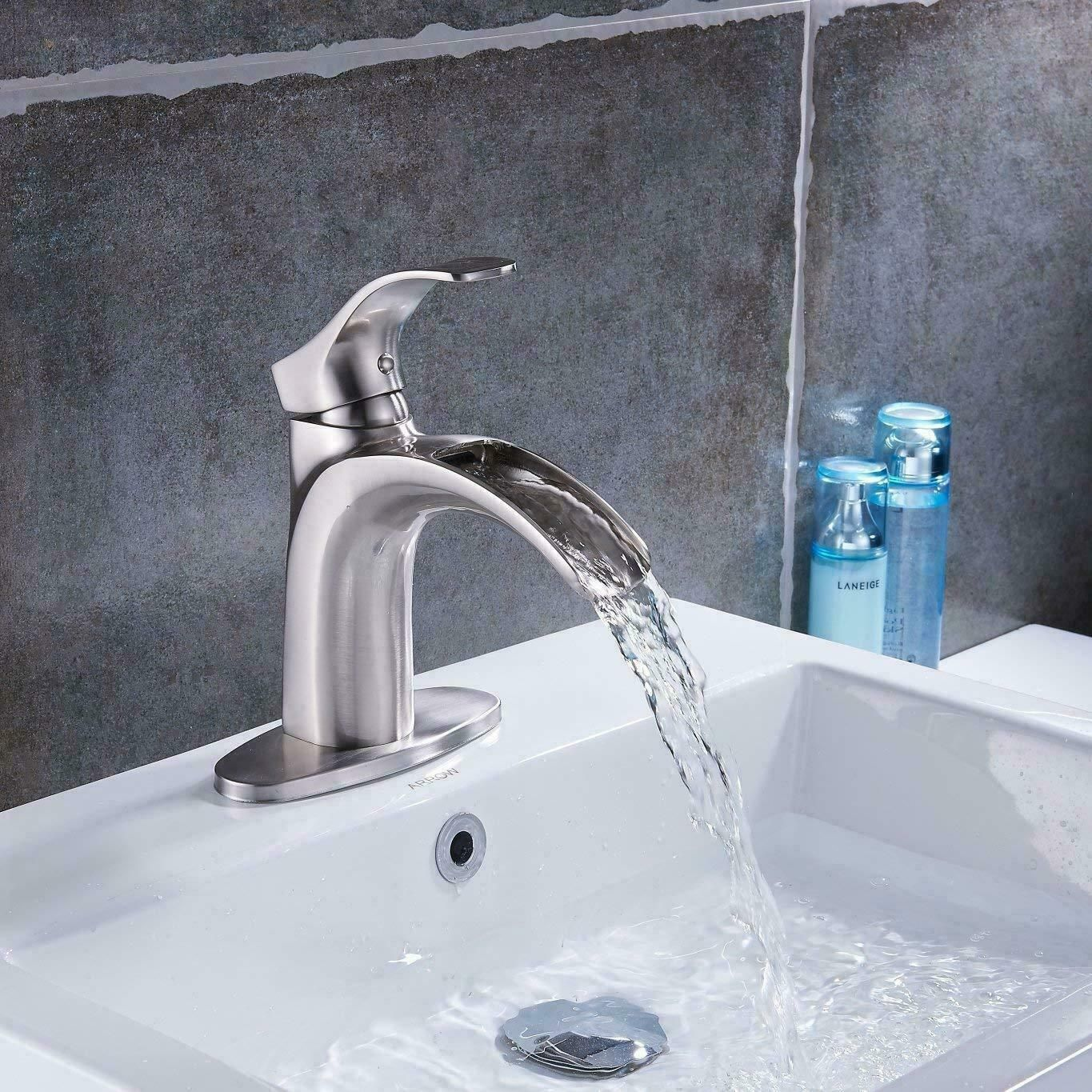 Brushed Nickel Sink Faucet Waterfall Bathroom Mixer Tap Deck