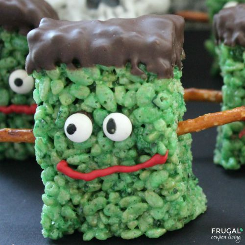 green marshmallow rice krispie treat monsterrs from frugal coupon living and rice krispie treats for every halloween
