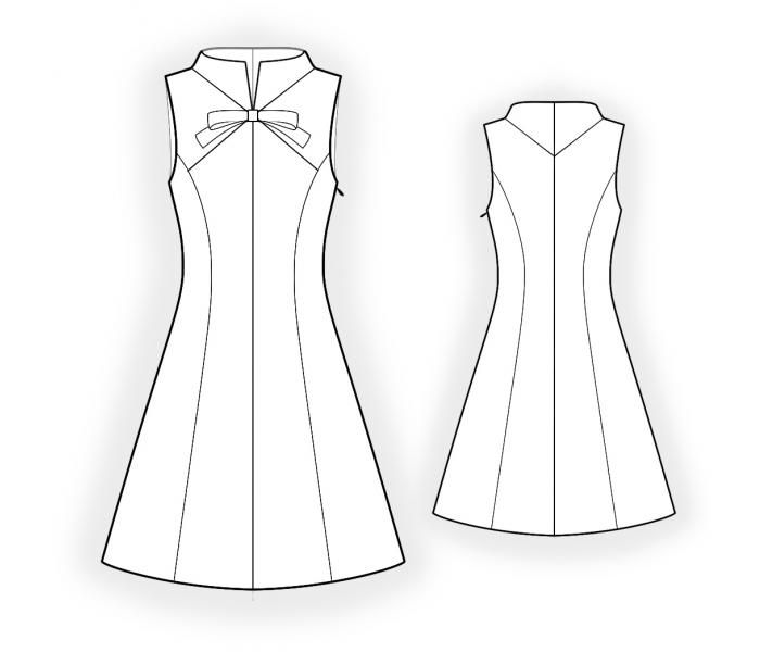 Dress With Stand Collar - Sewing Pattern #4460 Made-to-measure ...