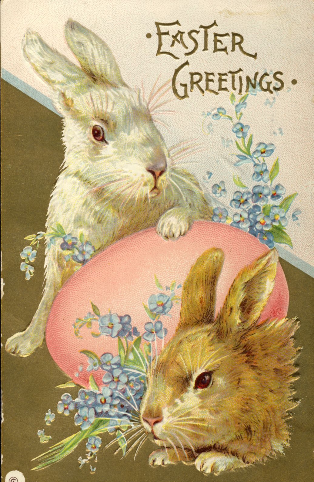 Easter Greetings Postcard Rabbits Egg By Unknown Printer In