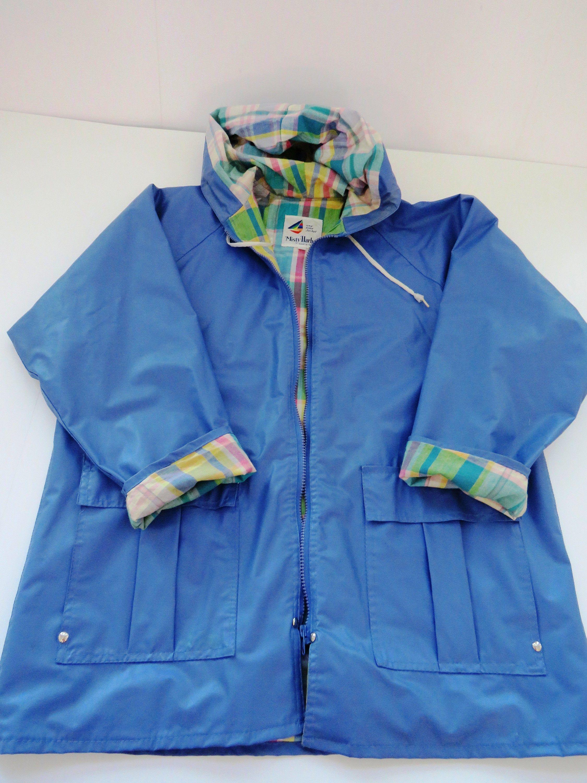 Vintage Blue Vinyl Rain Jacket By Misty Harbor Size Medium Etsy In 2020 Rain Jacket Vintage Clothes Women Jackets