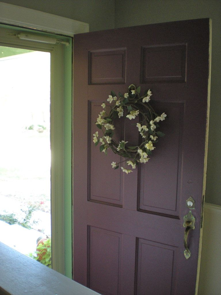 Olive And Eggplant Purple Front Doors Green Walls And