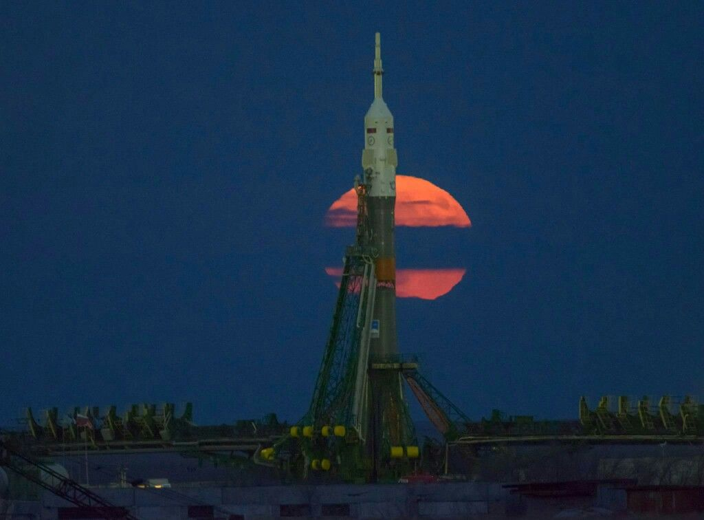 The Supermoon Is Seen Rising Behind The Soyuz Rocket That Will Launch The Next Crew To The International Space Station From The Baikonur Cosmodrome On Nov 17