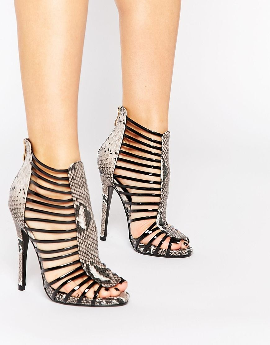 Daisy Street Caged Gladiator Snake Effect Heeled Sandals