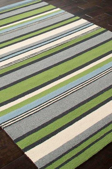 Stripe Pattern Indoor Outdoor Rug Lime Green