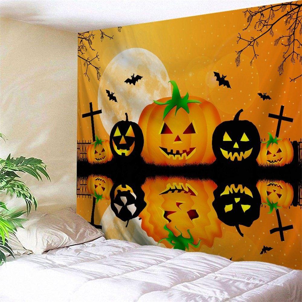 Halloween Wall Decor Inverted Pumpkin Tapestry Halloween Wall