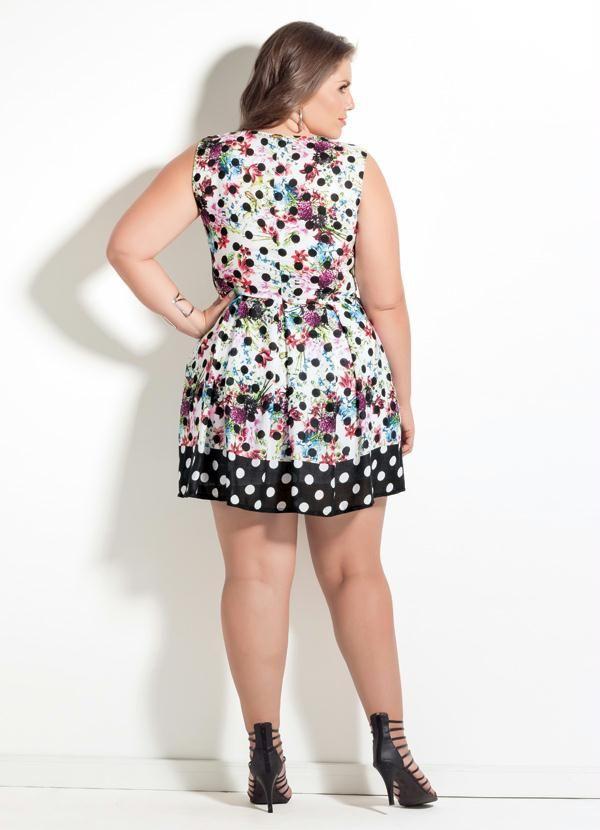 118be431c237 Vestido Quintess Mix Poá Floral Plus Size - Quintess | Women's ...