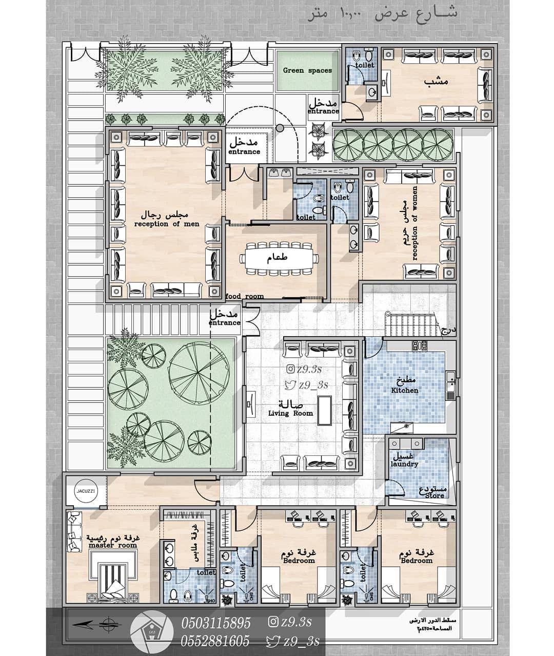 South Studio On Instagram تصميم فيلا دور أرضي فقط بمساحة ٤٢٥م٢ عسير المدينة المنورة مخططات الرياض مخ House Layout Plans My House Plans Model House Plan