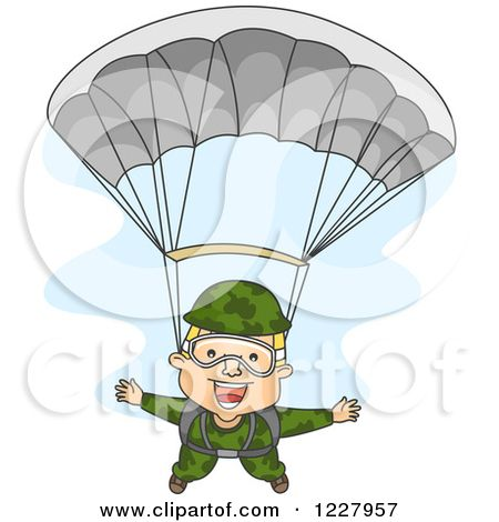 Clipart of a Happy Paratrooper Soldier Descending Wtih a Parachute - Royalty Free Vector Illustration by BNP Design Studio #1227957