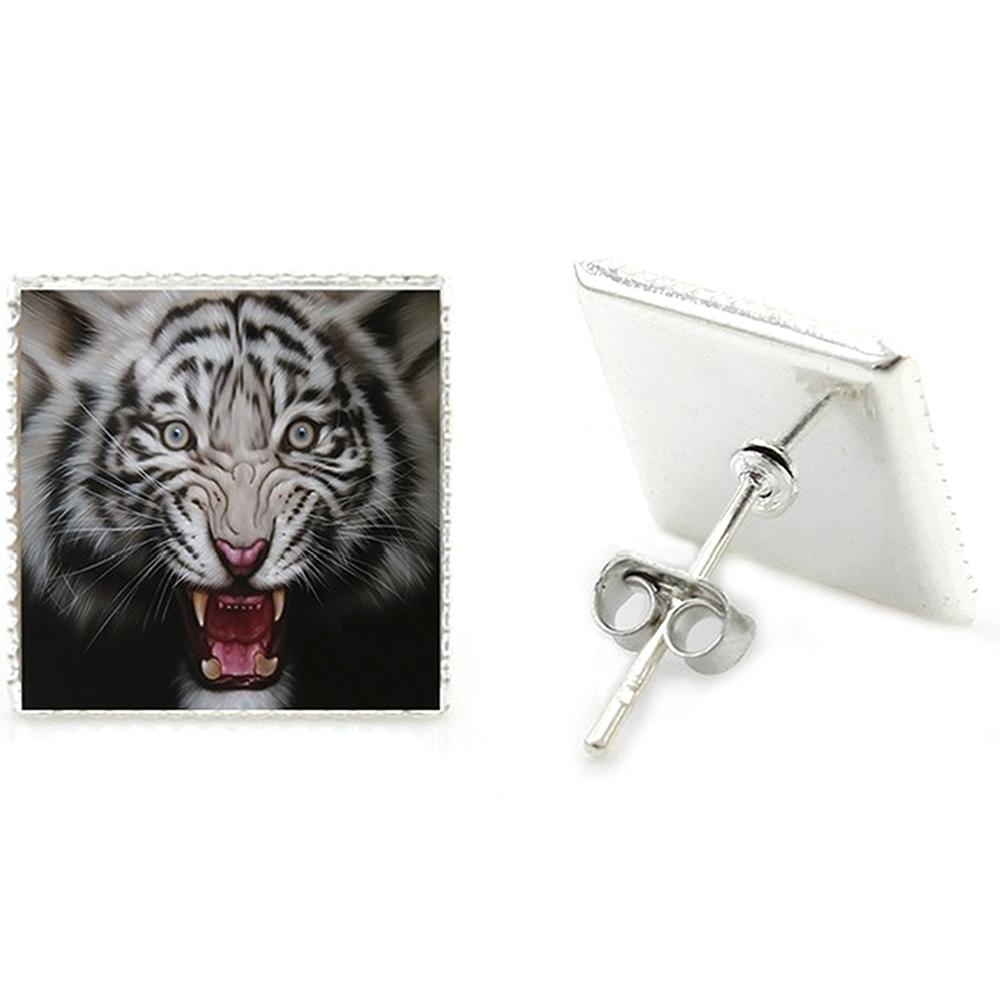 Boucles d'Oreille Clous Puces Acier Inoxydable Carré Tigre Enragé | Cameleon-Shop.fr