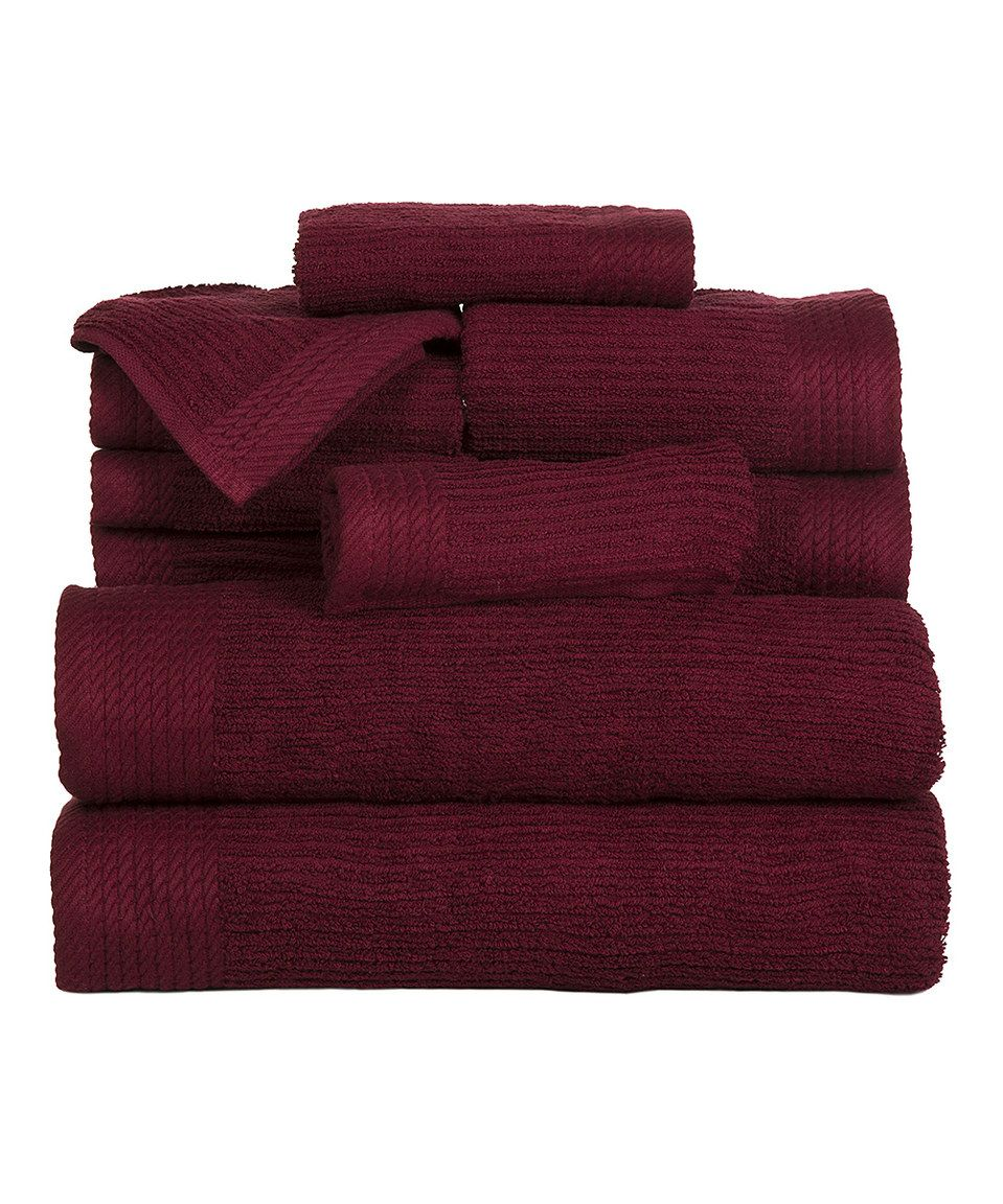 This Burgundy Egyptian Cotton 10 Piece Towel Set By Lavish Home Is Perfect Zulilyfinds Egyptian Cotton Towels Towel Set Bath Towels