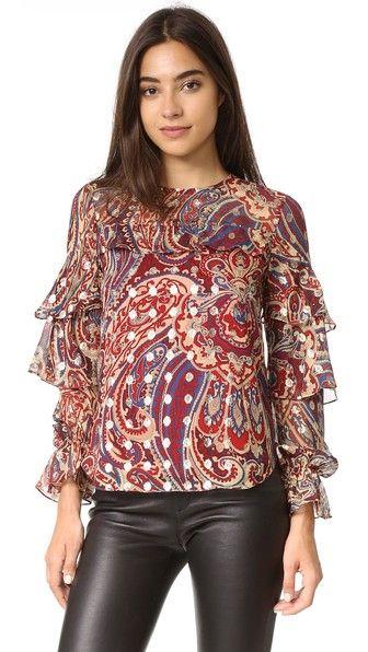 HAUTE HIPPIE Ruffle Blouse. #hautehippie #cloth #dress #top #shirt #sweater #skirt #beachwear #activewear