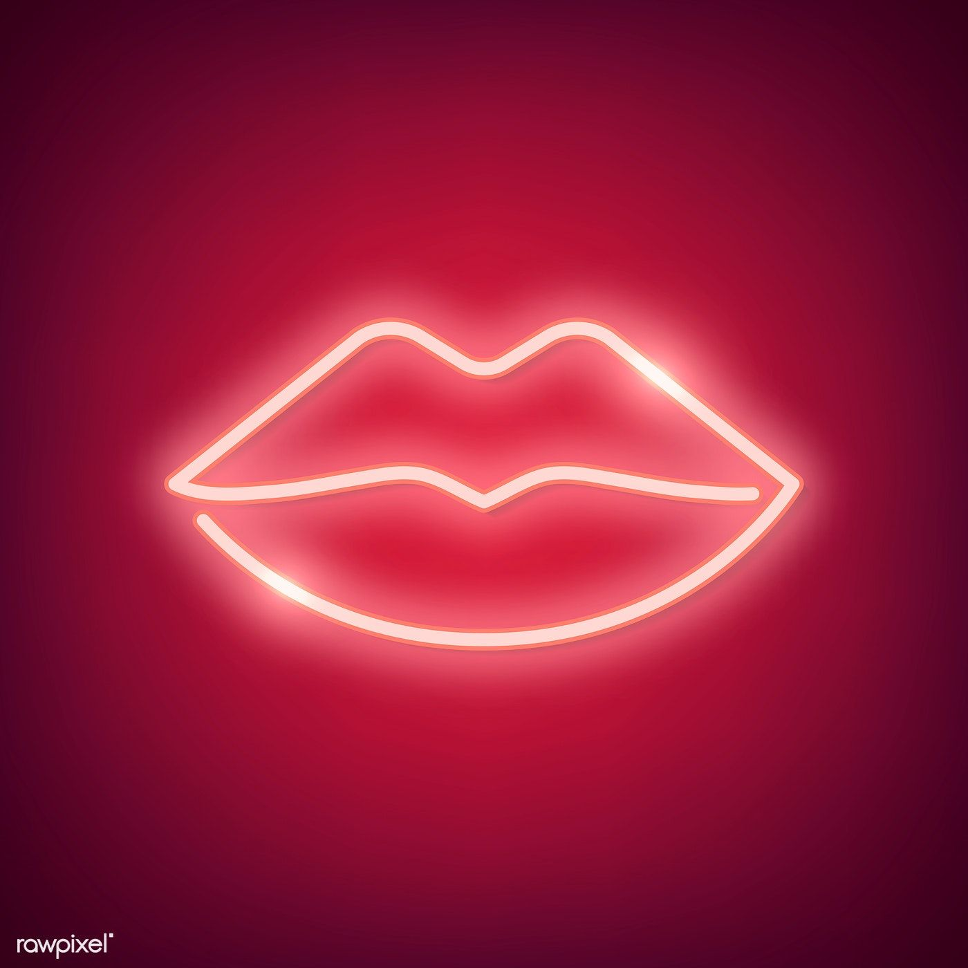 Neon light kiss sign on red background free image by