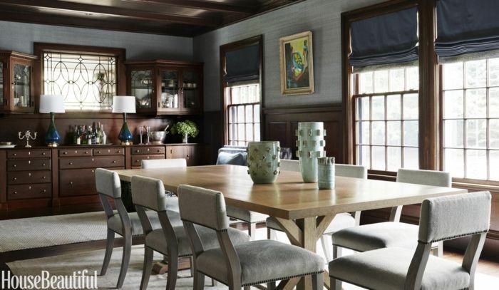 Decoracion salon comedor con mesa rectangular sillas tapizadas gris alacenas de madera - Diseno salon comedor rectangular ...