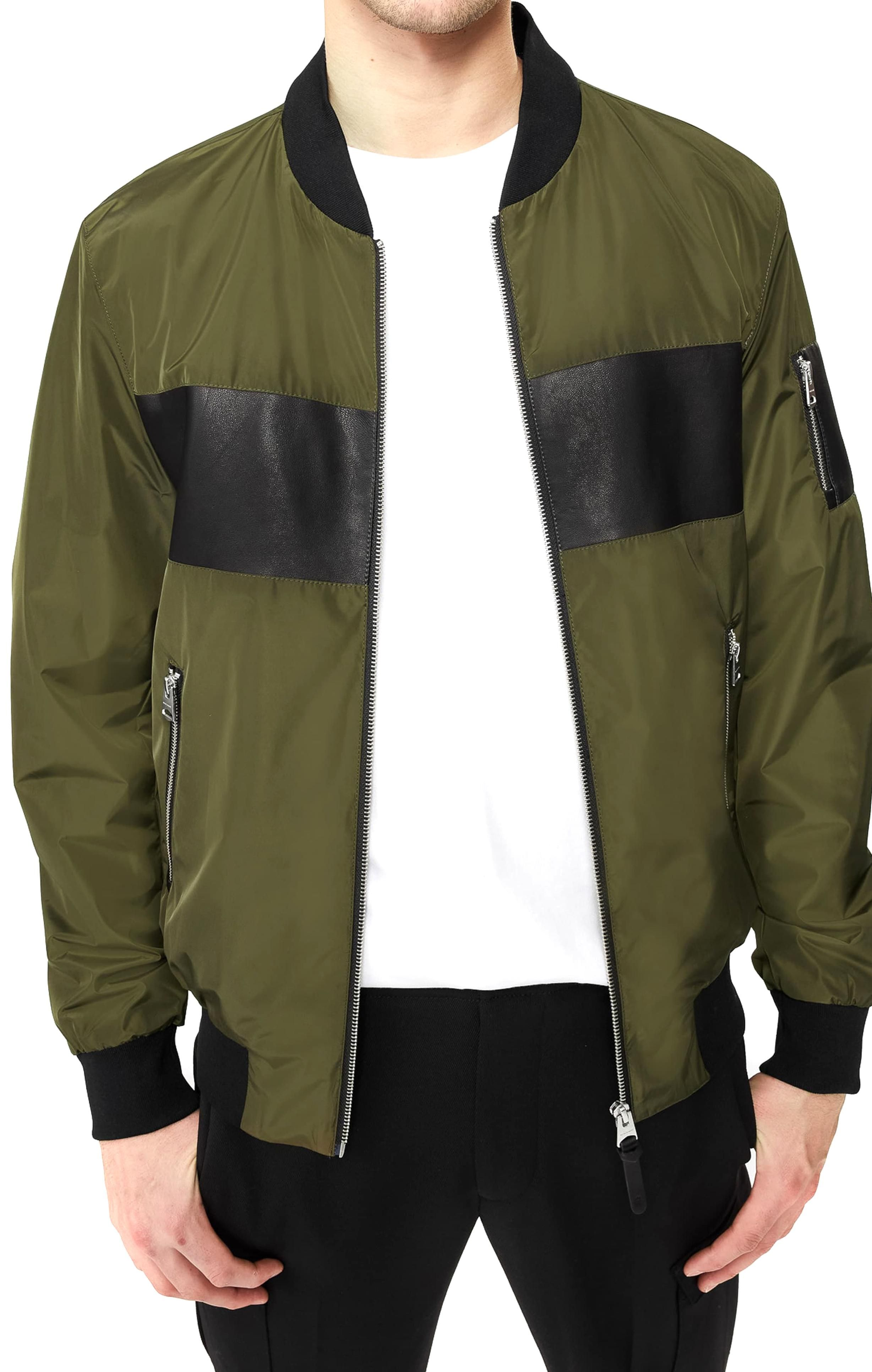 Sleek Style Is The Name Of The Game In This Hooded Bomber Trimmed With A Wide Leather Stripe Style Nam In 2020 Hooded Bomber Jacket Bomber Jacket Fashion Bomber Jacket [ 3864 x 2456 Pixel ]