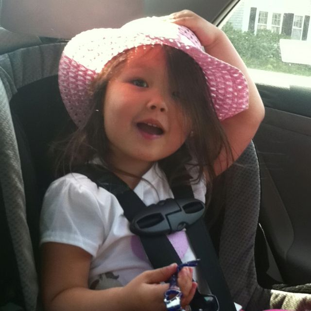 My little girl being sweet in the backseat ^_^