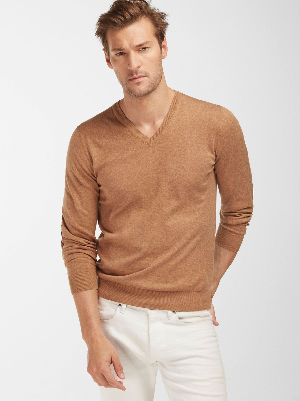 V-NECK CAMEL SWEATER WITH ELBOW PATCH DETAIL - Massimo Dutti ...