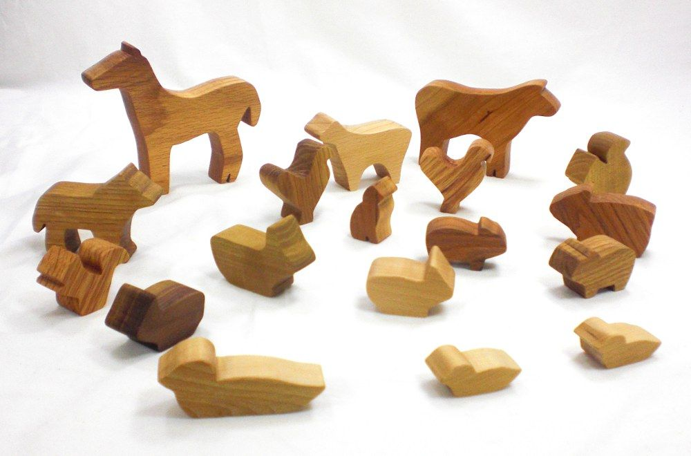 Wooden Farm Toys in a Bag