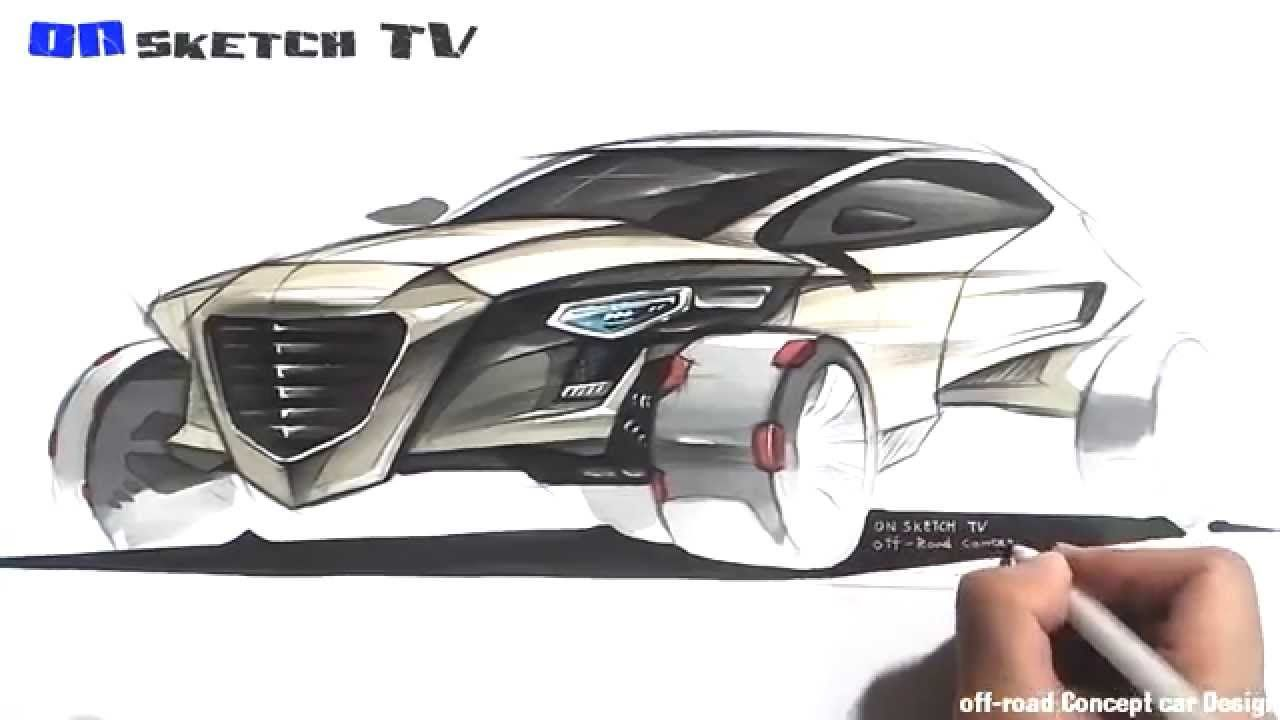 "온스케치 TV Car Sketch - ""Futuristic Off-road  Concept car Sketch (Color Pen..."